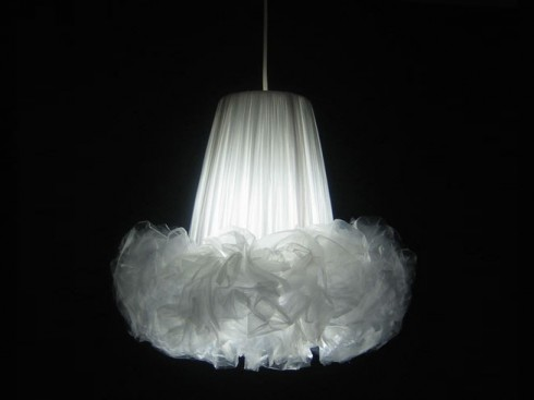 Plastic bag chandelier
