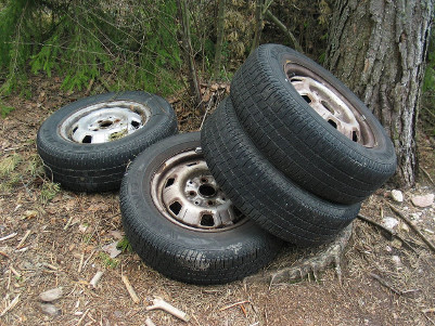 reused, recycled tire