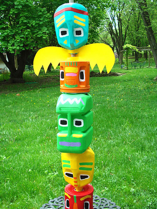 Totem Pole made of milk jugs