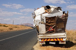 truck filled with solid waste