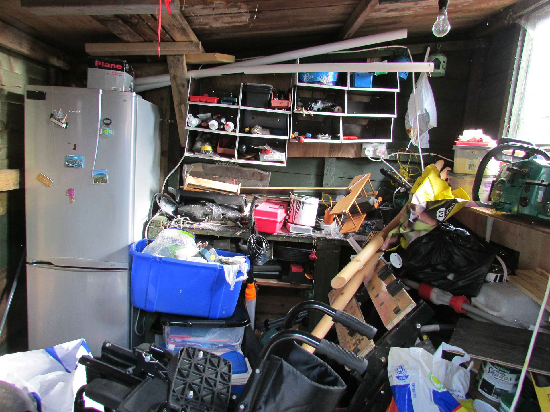 Unbelievably cluttered hoarder's house.