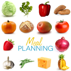 Picture of fruits and Meal planning text