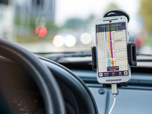 GPS smartphone used in a car as navigation